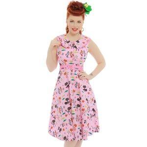 Lindy Bop Oona Pink Cat Swing Dress